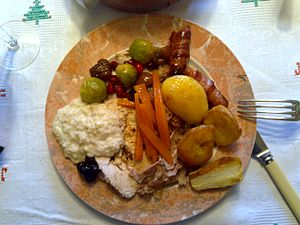 Pigs in blankets - Christmas Dinner in the UK; pigs in blankets at top right of plate