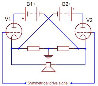 Circlotron Symmetrical bridged topology of an output-transformerless (OTL) valve amplifier