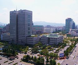 Daejeon City Hall and nearby Dunsan area