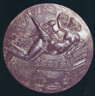 Male-female couple on the back of a bronze mirror (ca. 70-90 AD) Clarke Ars Erotica 18.jpg