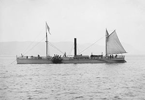 The 1909 replica of the North River Steamboat at anchor