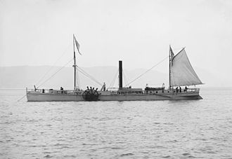 North River Steamboat - The 1909 replica of the North River Steamboat at anchor