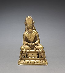 Crowned Buddha Seated on a Lion Throne