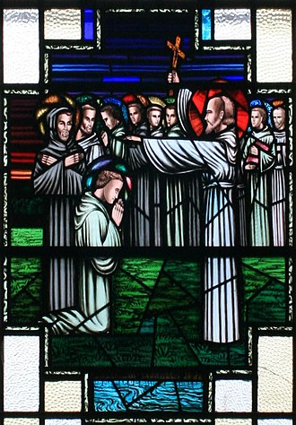 "Irish people - Finnian of Clonard imparting his blessing to the ""Twelve Apostles of Ireland"""