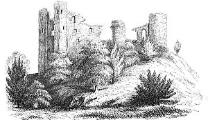 Clun Castle - A mid-Victorian depiction of the ruined Clun Castle