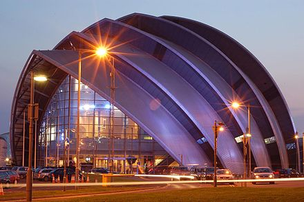 Lord Foster's Clyde Auditorium, colloquially known as 'the Armadillo' Clyde Auditorium, Glasgow.jpg