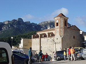 Colldejou - View of Colldejou with the Mola de Colldejou in the background