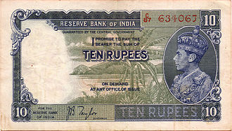 Indian 10-rupee note - Ten-rupee note issued by the Reserve Bank of India from 1937 to 1943.