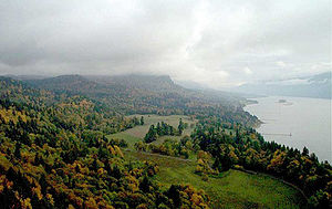 Riverscape - This photo is of the Columbia River Gorge, an example of a riverscape. The gorge is a canyon that is home to numerous waterfalls and various other landscapes along the Columbia River.