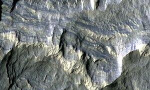 Memnonia quadrangle - Image: Columbus Crater Layers