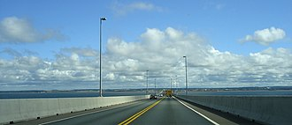 Confederation Bridge - Heading northbound with Prince Edward Island in view.
