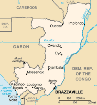 Geography of the Republic of the Congo - Map of the Republic of the Congo