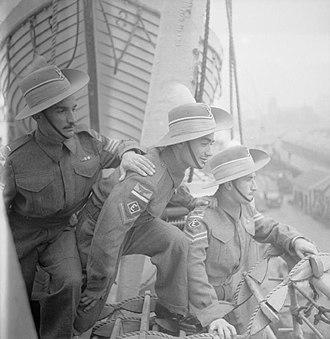 Iraq Levies - Three members of the RAF Levies arrive at Liverpool aboard SS Orbita in 1946