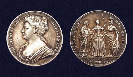 Official Coronation medal of Queen Caroline in 1727 by J. Croker Coronation medal Queen Caroline 1727.jpg
