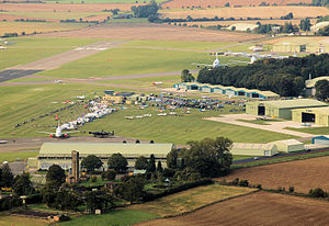 Cotswold Airport - The central area of the airport, looking east. An air show is in progress.