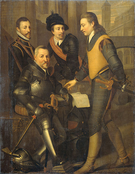 The collateral house of Nassau: the four brothers of Willem I, prince of Orange: Jan (1536-1606), sitting, Hendrik (1550-74), Adolf (1540-68) and Lodewijk (1538-74), counts of Nassau. Counts of Nassau.jpg