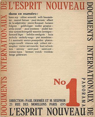 Amédée Ozenfant - L'Esprit Nouveau, No. 1, October 1920. Edited by Paul Dermée and Michel Seuphor, later by Charles-Edouard Jeanneret (Le Corbusier) and Amédée Ozenfant. Published by Éditions de l'Esprit Nouveau, Paris