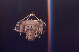 STS-85 - CRISTA-SPAS moments before capture by Discovery's robotic manipulator arm.