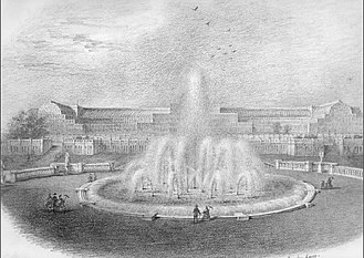 Thomas Oliphant (lyricist) - One of a series of thirty five drawings by Thomas Oliphant of Crystal Palace at Sydenham drawn between 1855 and 1860. The original is in his family's collection.