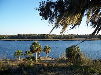 Crystal River (Florida) - View of Crystal River from the top of the temple mound in Crystal River Archaeological State Park
