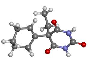 Cyclobarbital - Image: Cyclobarbital ball and stick