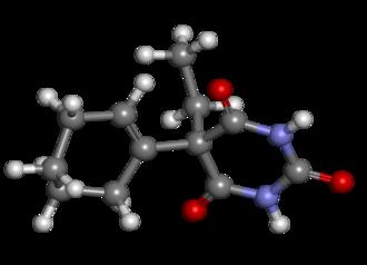 Cyclobarbital - Image: Cyclobarbital ball and stick
