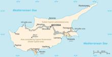 Mappa indicante la divisione della Repubblica di Cipro.