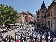 Défilé du 13e bataillon de chasseurs alpins dans les rues de Chambéry en juillet 2014