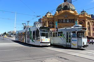 Keolis - Keolis Downer trams at Flinders Street station in February 2013
