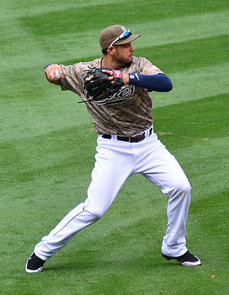 San Diego Padres - Jason Bartlett wearing the third iteration of the Padres camouflage uniform