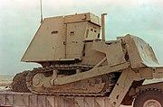 D7 armoured bulldozer on flatbed