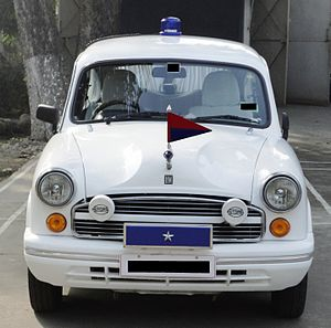 One-star rank - This car has one star (on the blue box), indicating that it belongs to a one-star ranking Indian police officer.