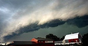 Outflow (meteorology) - The outflow boundary indicated by the presence of this shelf cloud preceded a derecho in Minnesota