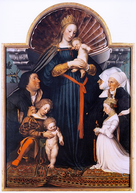Darmstadt Madonna, with donor portraits, on a Holbein carpet. 1525-26 and 1528. Oil and tempera on limewood, Wurth Collection, Schwabisch Hall. Darmstadtmadonna.jpg
