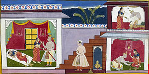 Kaikeyi - Dasharatha promises to banish Rama per Kaikeyi's wishes(A folio from Ayodhya Kand manuscript)