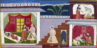 Kaikeyi - Dasharatha promises to banish Rama per Kaikeyi's wishes(A folio from Ayodhya Kand manuscript)