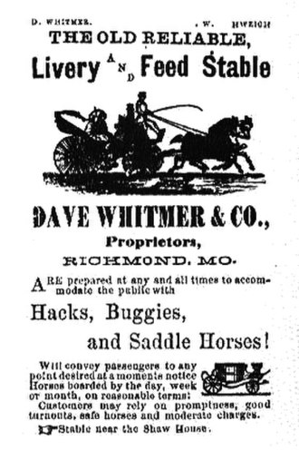 David Whitmer - Advertisement for Whitmer's livery stable