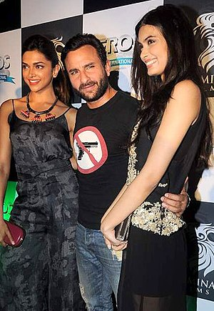 Saif Ali Khan - Khan with co-stars Deepika Padukone (left) and Diana Penty at an event for Cocktail in 2012