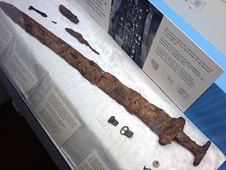 Great Heathen Army - A sword of a Viking buried at Repton in Mercia. This sword is now in Derby Museum.