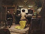 Almeida J�nior: O descanso do modelo, 1882, MNBA. Pintura de g�nero ao gosto burgu�s que surgiu no �mbito acad�mico em fins do s�culo XIX