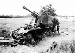 Wespe - A Wespe destroyed in Normandy, 1944.