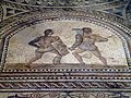 Detail of Gladiator mosaic, a Secutor (left) fighting a Retiarus (right), Römerhalle, Bad Kreuznach, Germany (8197178992).jpg