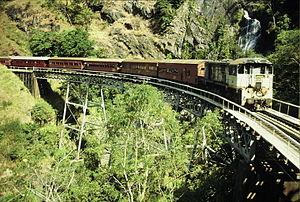 Tablelands railway line, Queensland - Stoney Creek trestle bridge in the Barron gorge, September 1989