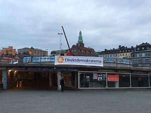 Direktdemokraterna - A Direktdemokraterna banner in Stockholm (2014)