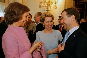 Queen Sofía of Spain - Queen Sofia in St. Petersburg with President Dmitriy Medvedev of Russia, 2011