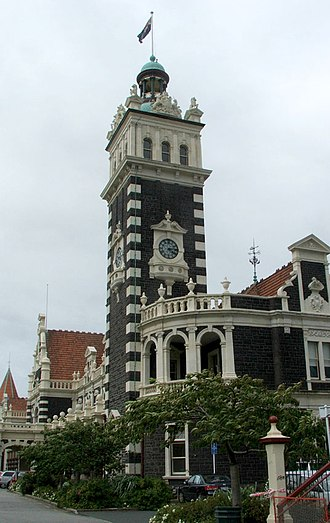Dunedin railway station - The clocktower at the south end of the station building
