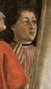 Portrait of Americo Vespucci, part of the Madonna della Misericordia by Domenico Ghirlandaio at the Oggnissanti church in Florence