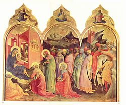 Adoration of the Magi by Don Lorenzo Monaco (1422).