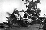 Douglas A-1H Skyraider of VA-215 is readied for launch from USS Hancock (CVA-19), circa in 1966.jpg