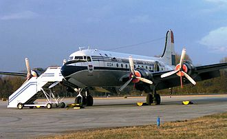 Tourism in the United States - The Douglas DC-4 was one of the first airliners in the United States used for commercial flights.